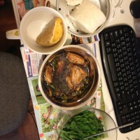 Lunch cooked by micro-waver in Tai Po Tsai